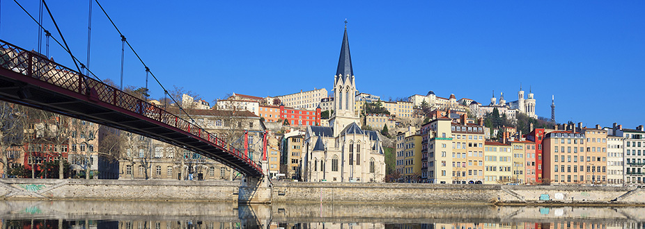 Lyon's bridge and church