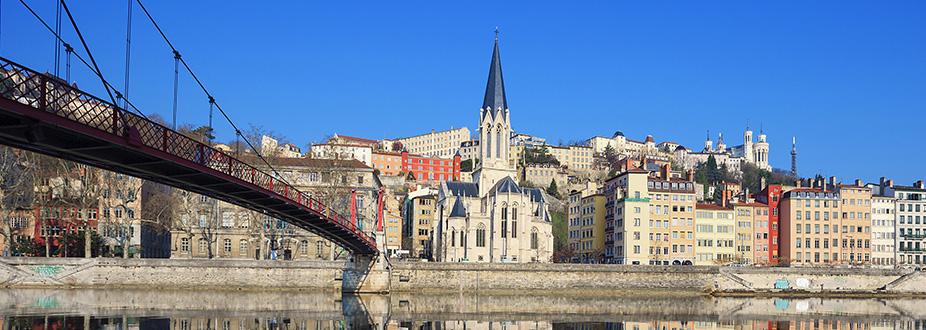 Lyon's bridge and church