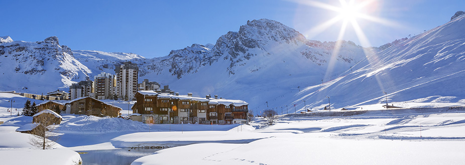 Tignes town ski station with snow