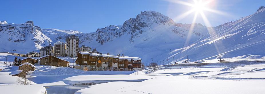 Tignes town ski station with snow